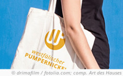 photo: Shopping bag with logo of Westphalian Pumpernickel. © drimafilm / fotolia.com; composition: Art des Hauses